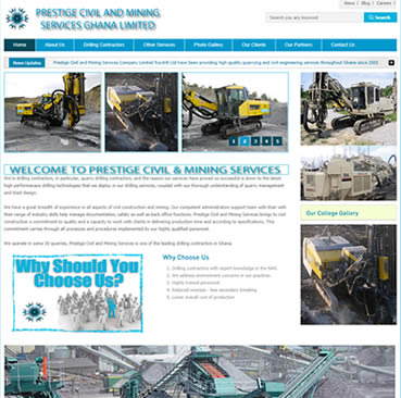 Website Design for mining companies in Ghana