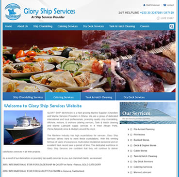 Website Development Services  for ship chandlers  in Ghana