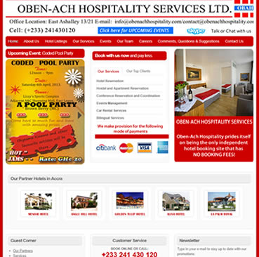 Website Development Services for hospitality company in Ghana